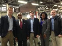 From left to right: Chris Williams, CEO of UWT Logistics, A C Wharton, Jr. Mayor of Memphis, David Ozier, CFO of UWT Logistics, Joann Massey, Business Development Consultant, TN Department of Economic & Community Development, Mark Herbison, Sr. VP of Economic Development, Greater Memphis Chamber