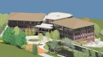 Rendering of Hoosier Energy's new LEED headquarters building under construction in Bloomington, Indiana. (Credit: Hoosier Energy)