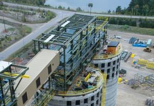 Biomass feedstock storage silos near completion at Atikokan Generating Station. (Photo: Flickr.com.)
