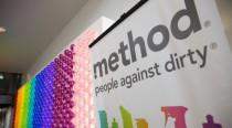 530 backlit Method bottles decorating the factory's lobby. (Photo: PRNewsFoto/Method Products, PBC.)