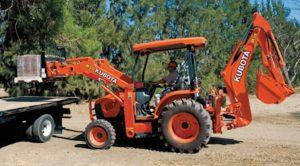 The Kubota TLB Series M59 loading pallets.