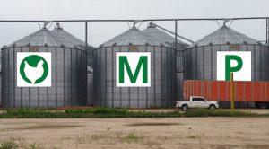 Ozark Mountain Poultry grain bins.