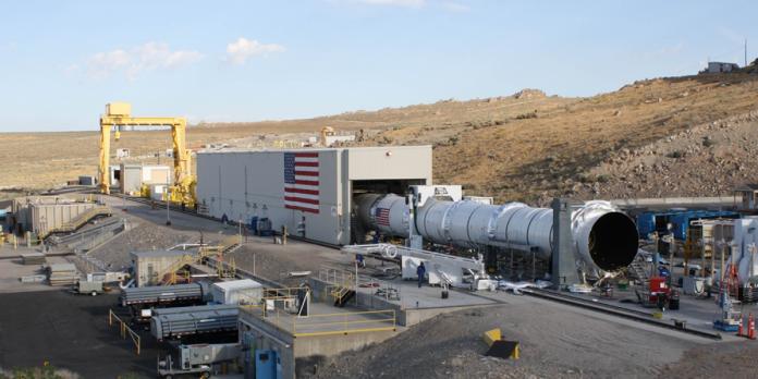 A crew preparing a NASA rocket for testing Orbital ATK, Corinne, Utah.